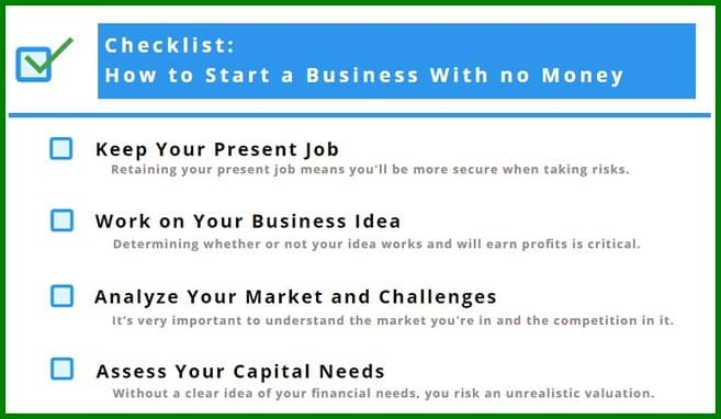 Checklist: How to Start a Business with No Money
